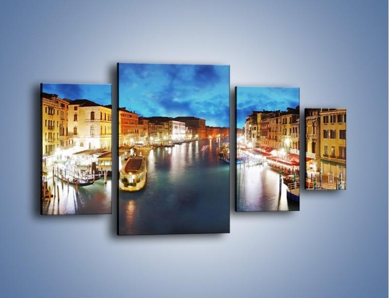 Obraz na płótnie – Światła Wenecji po zmroku – czteroczęściowy AM430W4