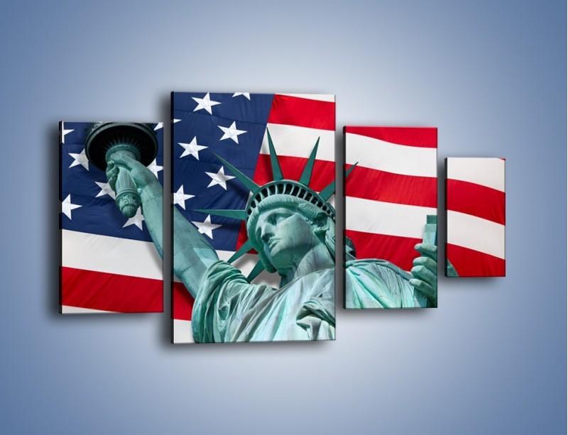 Obraz na płótnie – Statua Wolności na tle flagi USA – czteroczęściowy AM435W4