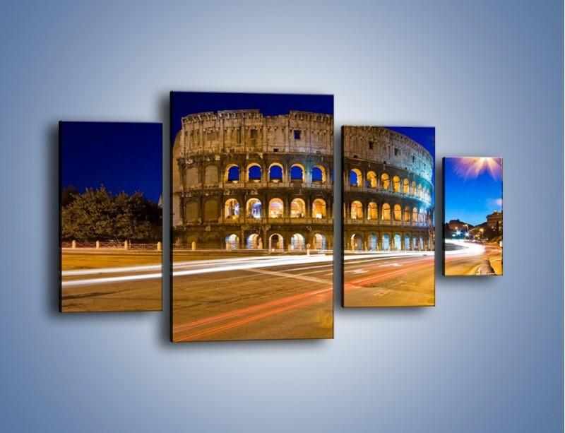 Obraz na płótnie – Koloseum po zmierzchu – czteroczęściowy AM443W4