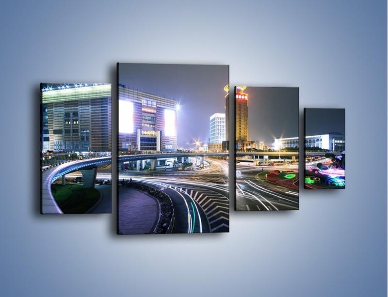 Obraz na płótnie – Oświetlone skrzyżowanie ulic w Szanghaju – czteroczęściowy AM446W4