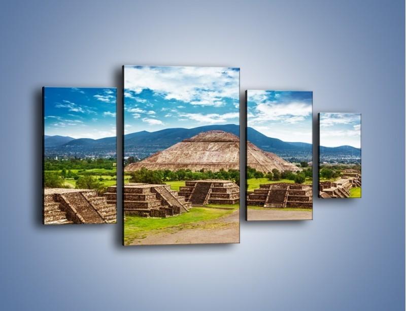 Obraz na płótnie – Piramida Słońca w Meksyku – czteroczęściowy AM450W4