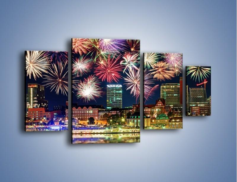 Obraz na płótnie – Noworoczne fajerwerki nad miastem – czteroczęściowy AM452W4