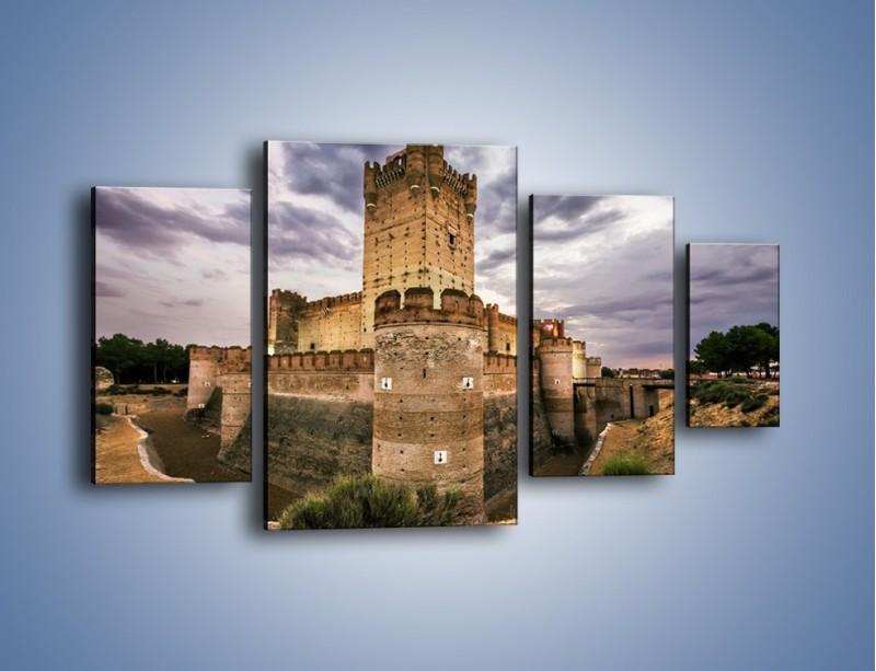 Obraz na płótnie – Zamek La Mota w Hiszpanii – czteroczęściowy AM457W4