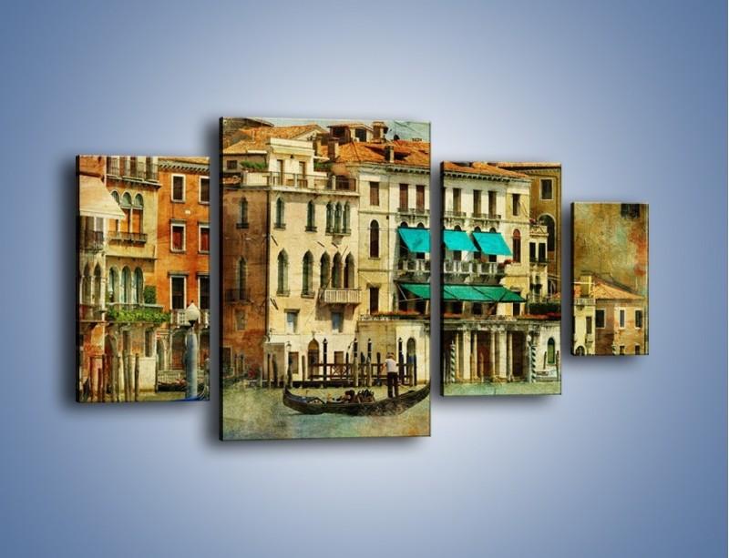 Obraz na płótnie – Weneckie domy w stylu vintage – czteroczęściowy AM459W4