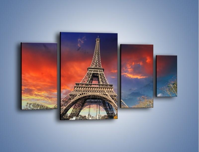 Obraz na płótnie – Wieża Eiffla pod niebiesko-czerwonym niebem – czteroczęściowy AM463W4