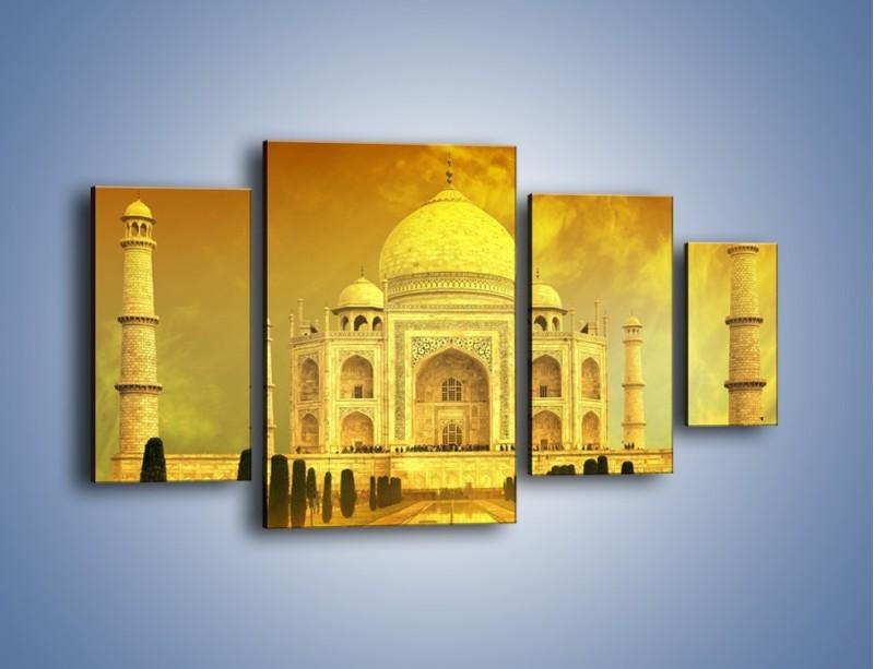 Obraz na płótnie – Tadź Mahal w żółtym kolorze – czteroczęściowy AM465W4