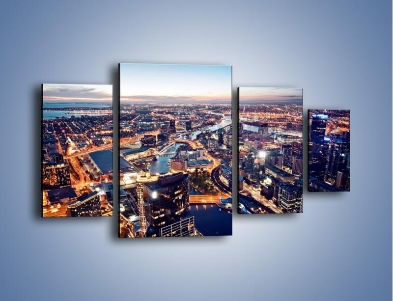 Obraz na płótnie – Panorama Melbourne po zmierzchu – czteroczęściowy AM470W4