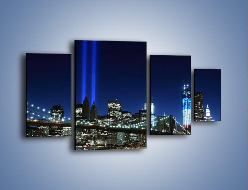 Obraz na płótnie – Most Brookliński nocą – czteroczęściowy AM476W4