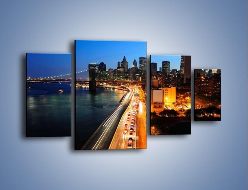 Obraz na płótnie – Manhattan wieczorową porą – czteroczęściowy AM477W4