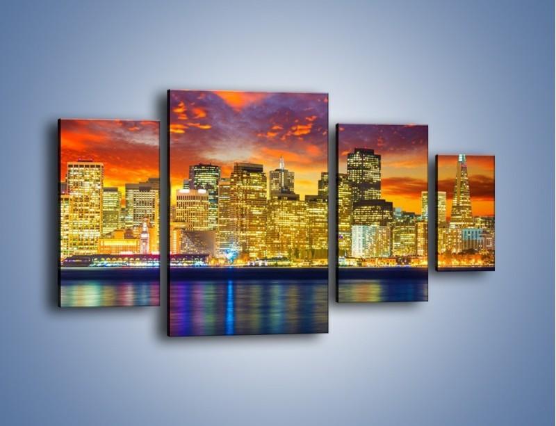 Obraz na płótnie – Wieżowce San Francisco nad wodą – czteroczęściowy AM481W4