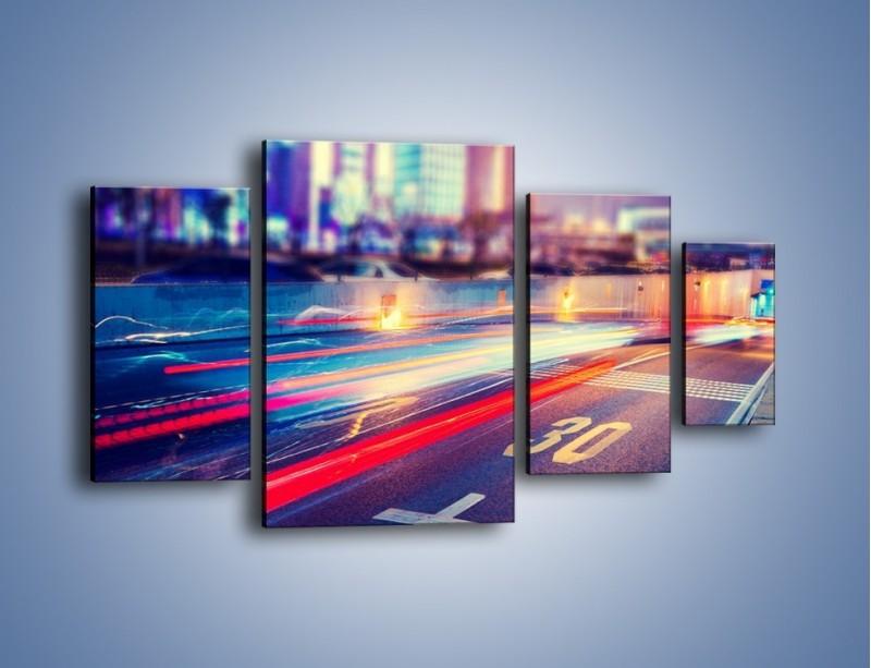 Obraz na płótnie – Ulica w ruchu świateł samochodowych – czteroczęściowy AM482W4