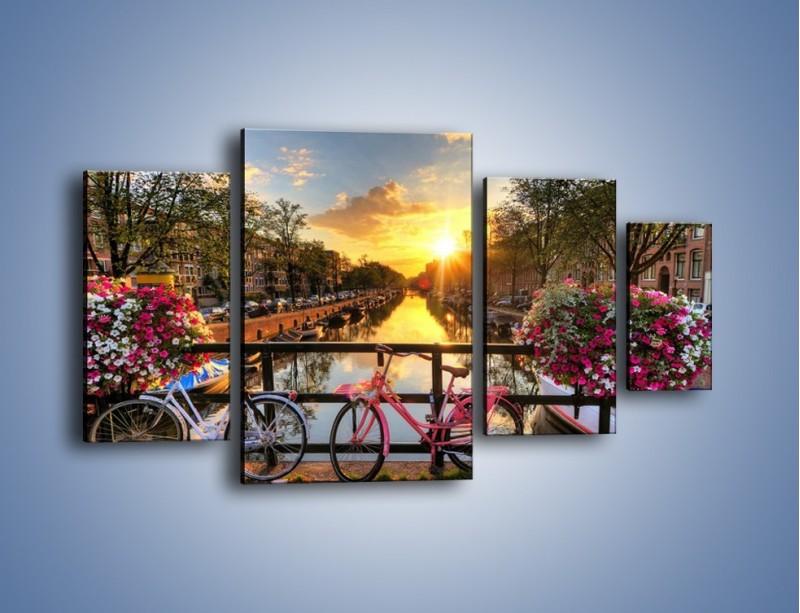 Obraz na płótnie – Zachód słońca nad amsterdamskim kanałem – czteroczęściowy AM483W4