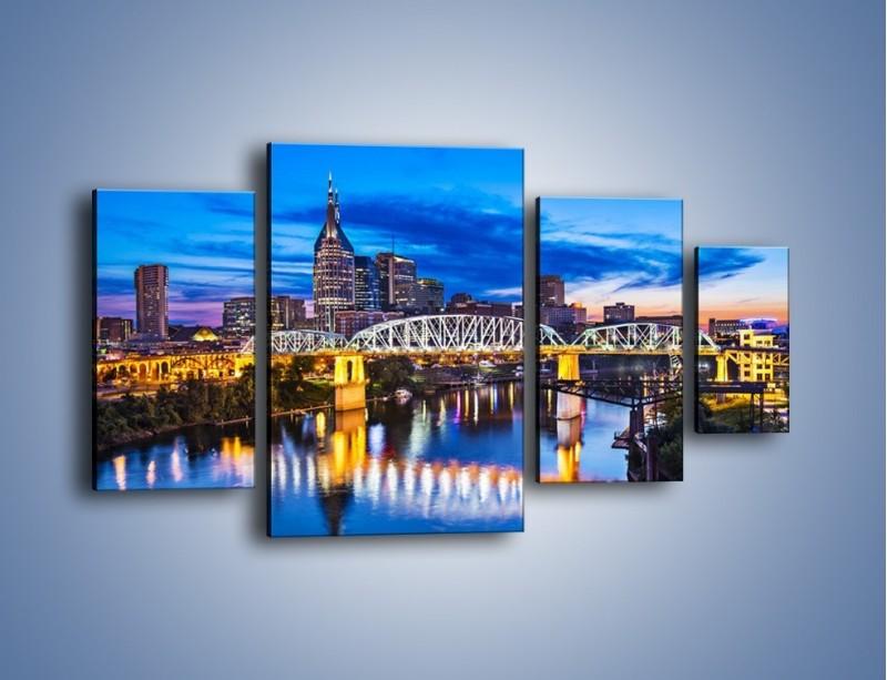 Obraz na płótnie – Most Shelby Street w Nashville – czteroczęściowy AM489W4