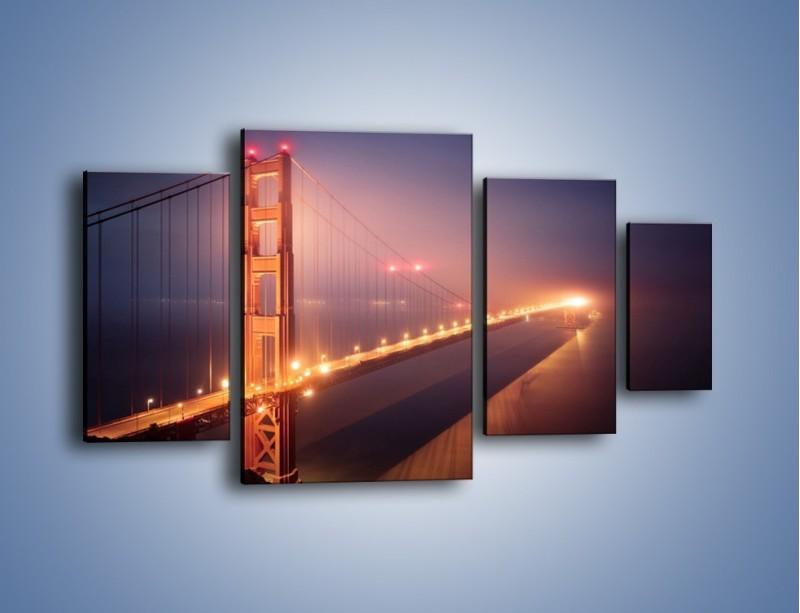 Obraz na płótnie – Most Golden Gate w nocnej mgle – czteroczęściowy AM490W4