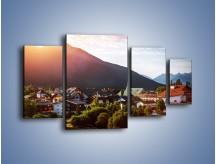 Obraz na płótnie – Austryjackie miasteczko u podnóży gór – czteroczęściowy AM496W4