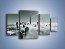 Obraz na płótnie – Centrum Dubaju we mgle – czteroczęściowy AM502W4