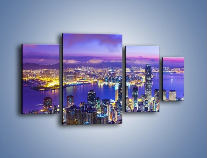 Obraz na płótnie – Wieczorna panorama Hong Kongu – czteroczęściowy AM505W4