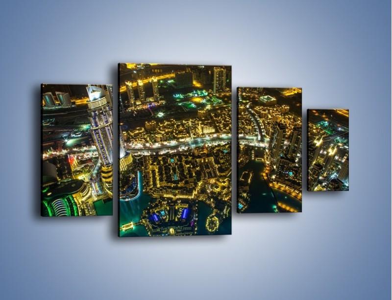 Obraz na płótnie – Dubaj nocą z lotu ptaka – czteroczęściowy AM507W4
