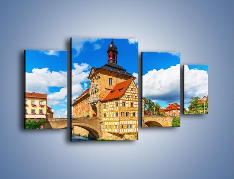 Obraz na płótnie – Ratusz w mieście Bamberg – czteroczęściowy AM513W4