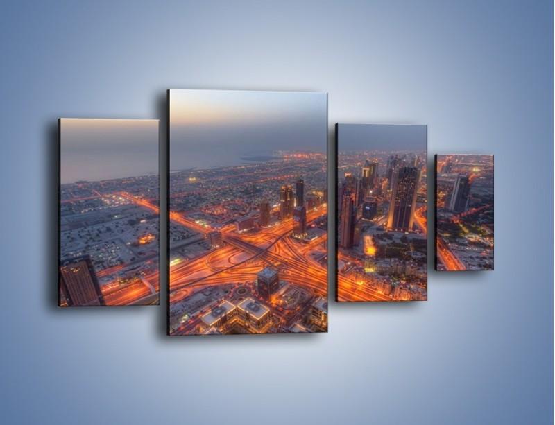 Obraz na płótnie – Panorama Dubaju o poranku – czteroczęściowy AM538W4