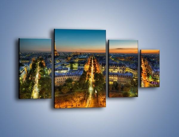 Obraz na płótnie – Rozświetlony Paryż wieczorową porą – czteroczęściowy AM549W4