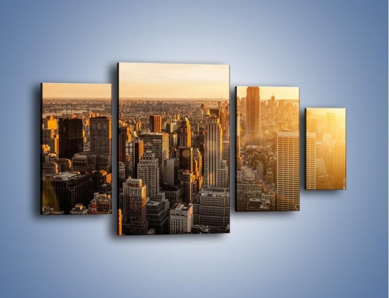 Obraz na płótnie – Zachód słońca nad Nowym Jorkiem – czteroczęściowy AM550W4