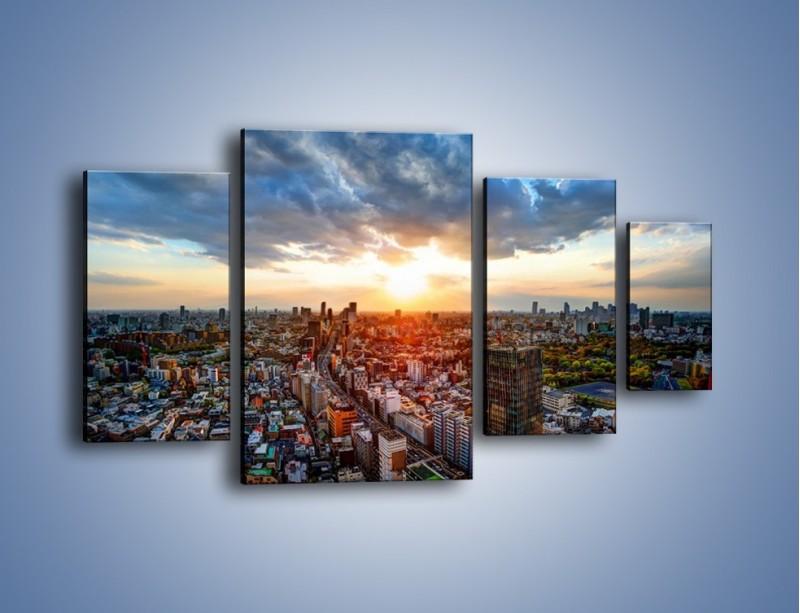 Obraz na płótnie – Panorama miasta o zachodzie słońca – czteroczęściowy AM587W4