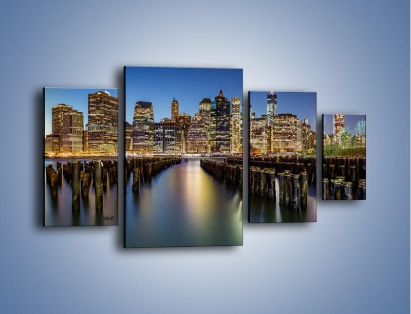 Obraz na płótnie – Zniszczone molo i widok na Manhattan – czteroczęściowy AM601W4