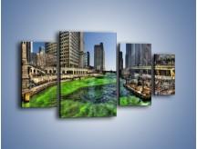 Obraz na płótnie – Chicago River w Dzień św. Patryka – czteroczęściowy AM605W4