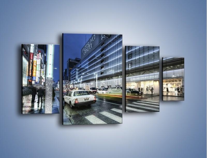 Obraz na płótnie – Ulica Tokyo w deszczu – czteroczęściowy AM613W4