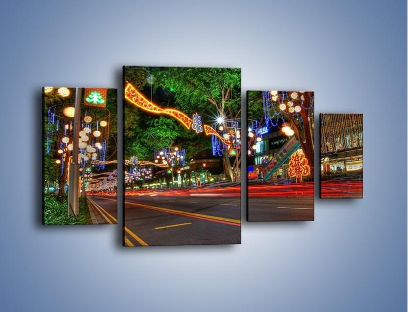 Obraz na płótnie – Noworoczne dekoracje w Singapurze – czteroczęściowy AM616W4
