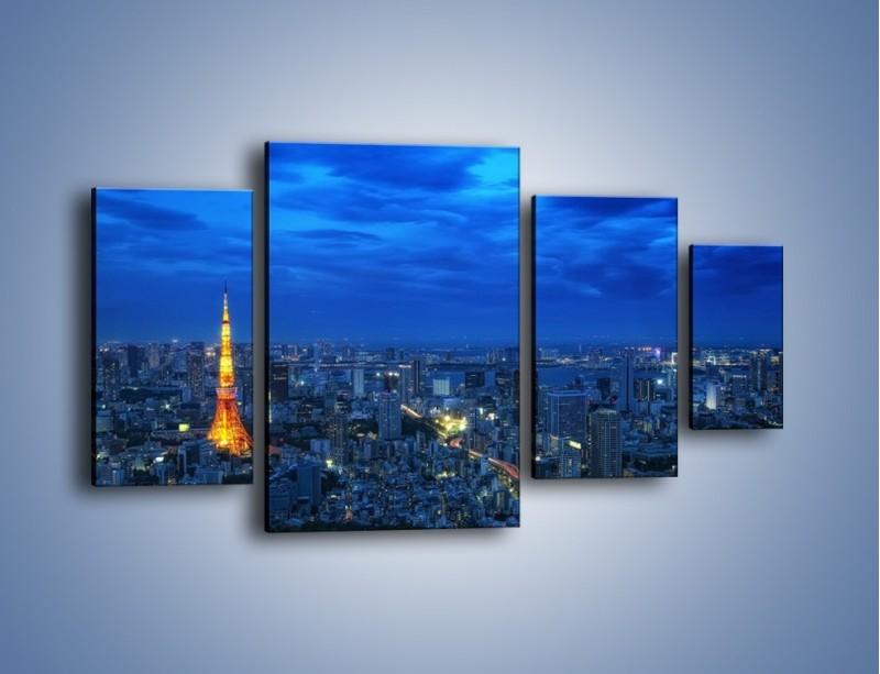 Obraz na płótnie – Tokyo Tower w Japonii – czteroczęściowy AM621W4