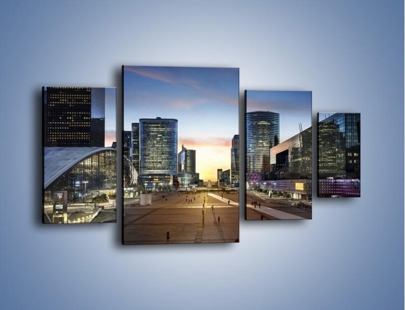 Obraz na płótnie – Quartier La Défense w Paryżu – czteroczęściowy AM647W4