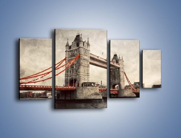 Obraz na płótnie – Tower Bridge w stylu vintage – czteroczęściowy AM668W4