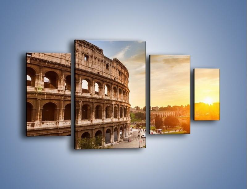 Obraz na płótnie – Rzymskie Koloseum o zachodzie słońca – czteroczęściowy AM684W4