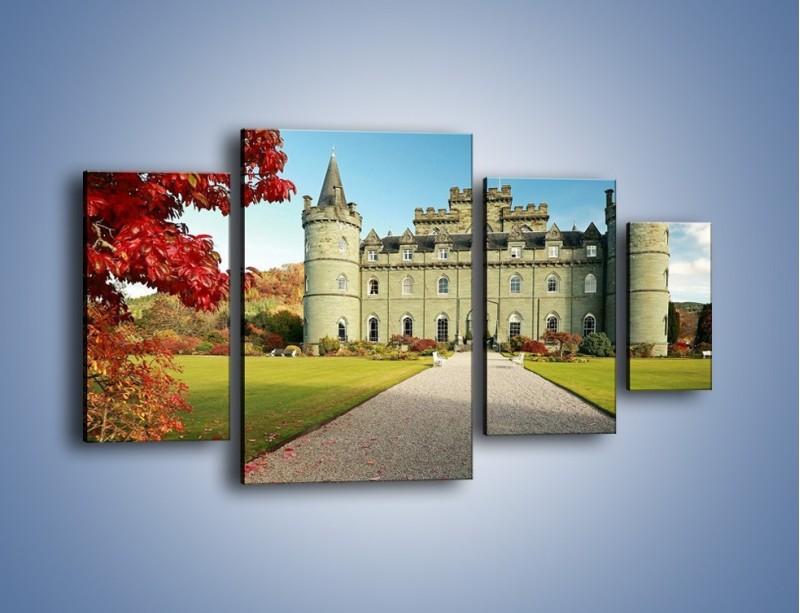 Obraz na płótnie – Zamek Inveraray w Szkocji – czteroczęściowy AM691W4