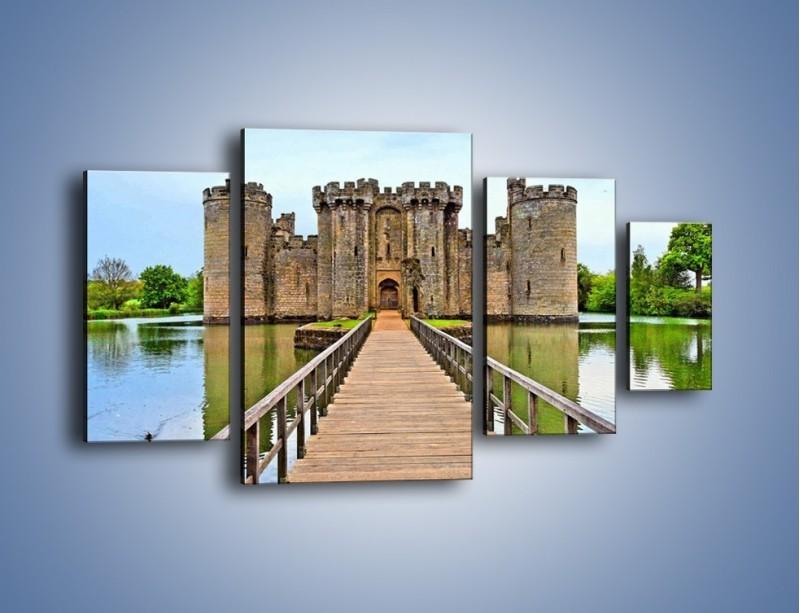 Obraz na płótnie – Zamek Bodiam w Wielkiej Brytanii – czteroczęściowy AM692W4