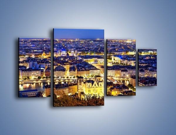 Obraz na płótnie – Nocna panorama Lyonu – czteroczęściowy AM707W4
