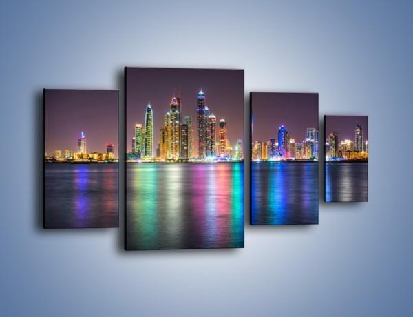 Obraz na płótnie – Kolorowe drapacze chmur w Dubaju – czteroczęściowy AM724W4