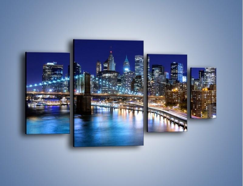 Obraz na płótnie – Nocne światła Nowego Yorku – czteroczęściowy AM726W4