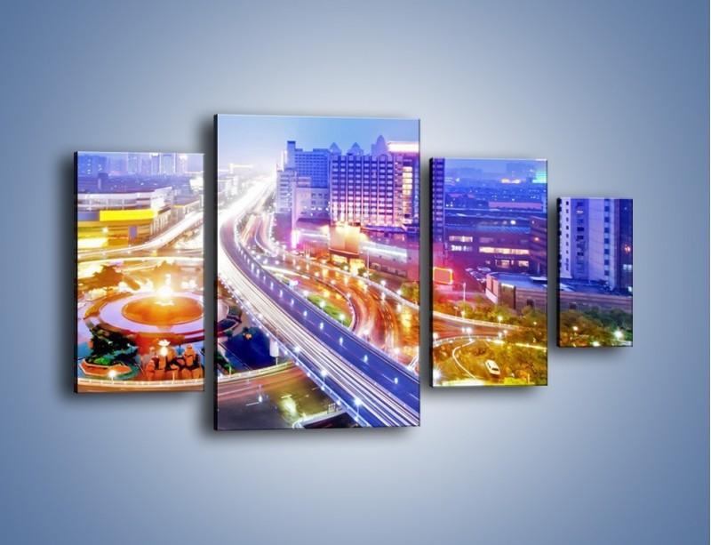 Obraz na płótnie – Rozświetlona miejska estakada – czteroczęściowy AM729W4