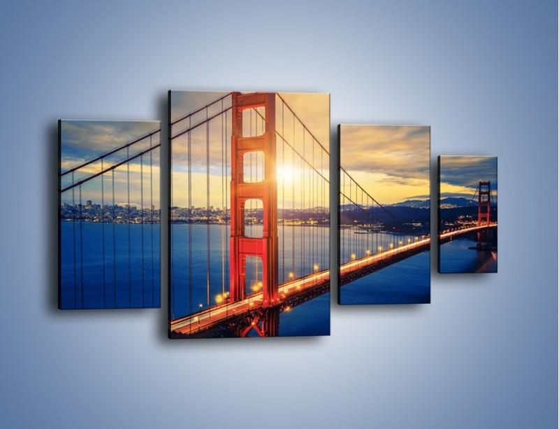 Obraz na płótnie – Zachód słońca nad Mostem Golden Gate – czteroczęściowy AM738W4