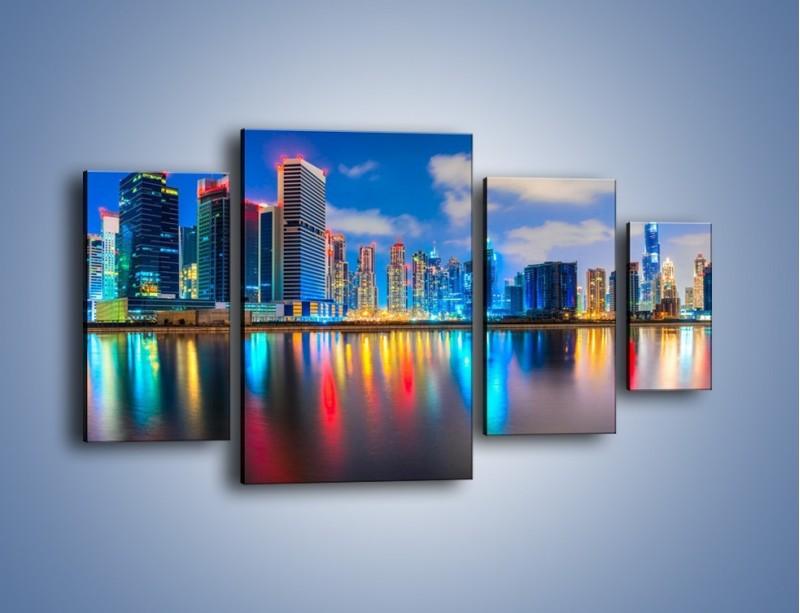 Obraz na płótnie – Kolory Dubaju odbite w wodzie – czteroczęściowy AM740W4