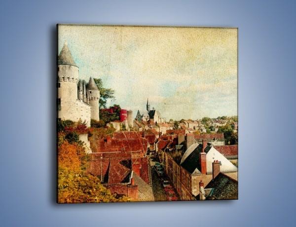 Obraz na płótnie – Zamek nad miasteczkiem w stylu vintage – jednoczęściowy kwadratowy AM142