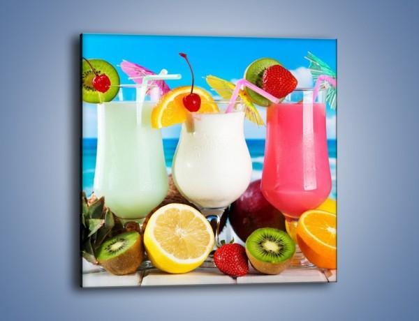 Obraz na płótnie – Mleczno-truskawkowe drinki – jednoczęściowy kwadratowy JN393