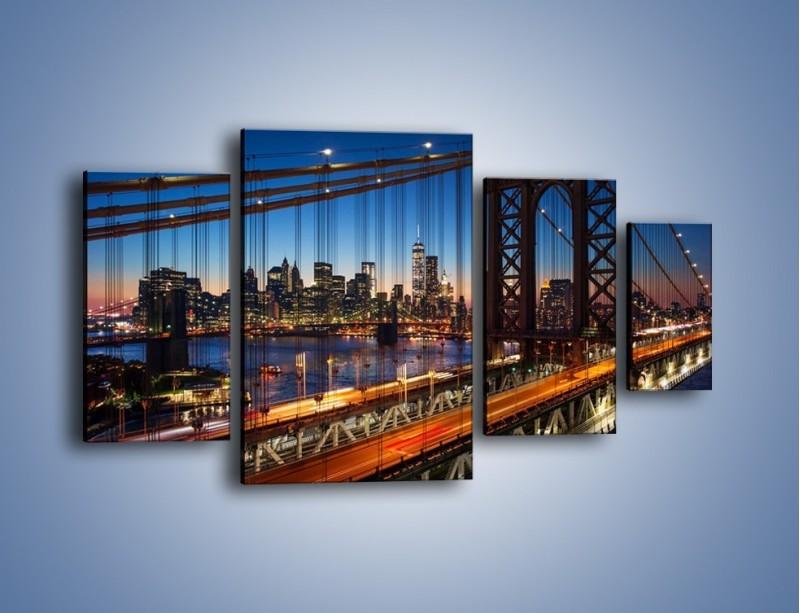Obraz na płótnie – Nowojorskie mosty na tle Manhattanu – czteroczęściowy AM751W4