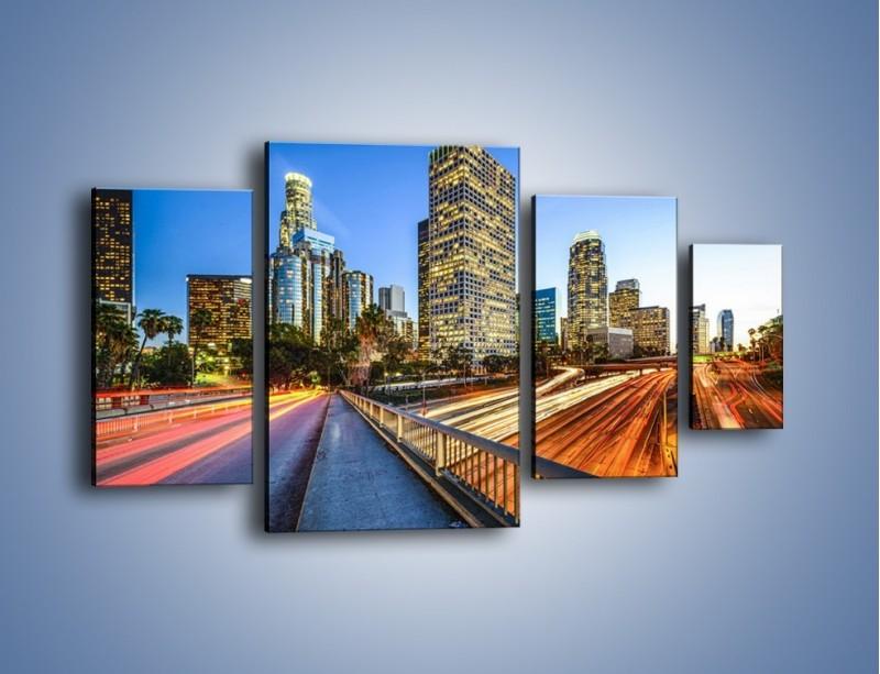 Obraz na płótnie – Światła Los Angeles o zmierzchu – czteroczęściowy AM753W4