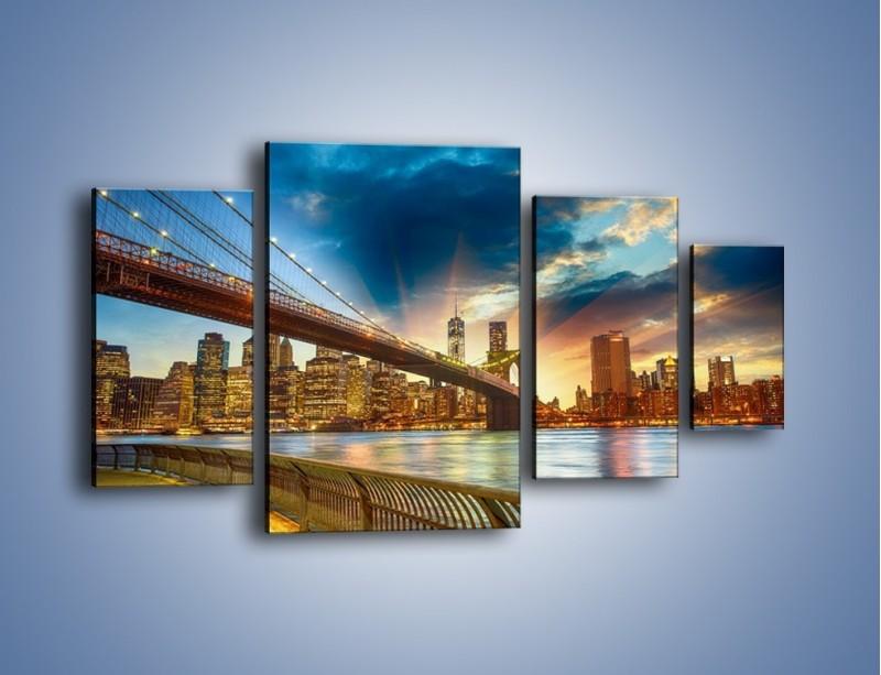 Obraz na płótnie – Most w Nowym Jorku o zmierzchu – czteroczęściowy AM754W4