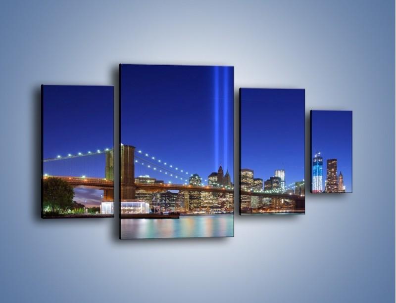 Obraz na płótnie – Świetlne kolumny w Nowym Jorku – czteroczęściowy AM757W4