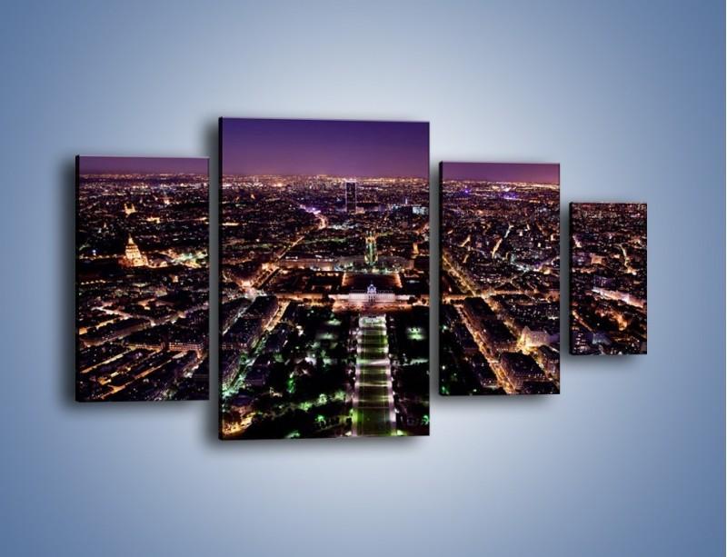Obraz na płótnie – Panorama Paryża z Wieży Eiffla – czteroczęściowy AM764W4